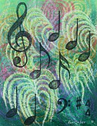 Musical Pastels Posters - Dancing Music Poster by Richard Van Order