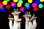 Surreal Digital Art - Dancing on mushroom under starry night by Mingqi Ge