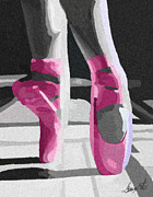 Ballet Glass Art - Dancing On Pink Satin by Lance  Kelly
