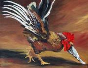 Rooster Kitchen Art Prints - Dancing Rooster  Print by Torrie Smiley