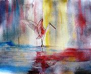 Spoonbill Paintings - Dancing Roseate Spoonbill by Georgia Johnson