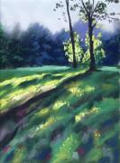 Forest Pastels Posters - Dancing Shadows Poster by Christine Kane