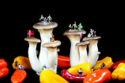 Miniature Digital Art - Dancing show on mushroom by Mingqi Ge