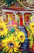 New Orleans Oil Painting Originals - Dancing Sunflowers in New Orleans by Amzie Adams