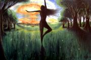 Post Apocalyptic Paintings - Dancing to a Nuclear Sunrise by Levi Rosen