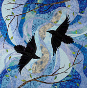 Fabric Quilts Tapestries - Textiles Posters - Dancing With the Chinook Poster by Linda Beach