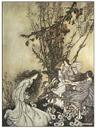 Arthur Paintings - Dancing with the Fairies by Arthur Rackman