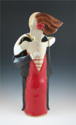 Couples Sculptures - Dancing with the Man in the Pin Striped Pants by Susan Springer