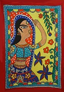 Hindu Drawings Posters - Dancing Woman Poster by Shakhenabat Kasana