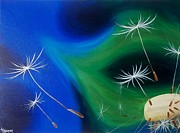 Dandelion Paintings - Dandelion Breeze by Lisa Lea Bemish