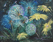 Larger Paintings - Dandelion Daze by Karen Ahuja
