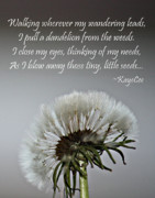 Dandelion Photos Framed Prints - Dandelion Dreams- Fine Art And Poetry Framed Print by KayeCee Spain