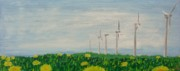 Field Of Dandelions Prints - Dandelion Etude No. 3 Windmills Print by David L Paxton