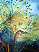 Wet Into Wet Watercolor Prints - Dandelion Lights Print by Angela Grainger