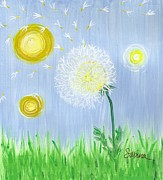 Bright Colors Art - Dandelion by Sabina Espinet