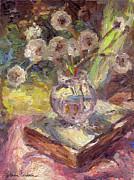 Dandelions Flowers In A Vase Sunny Still Life Painting Print by Svetlana Novikova