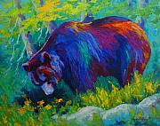 Wild Animals Paintings - Dandelions For Dinner - Black Bear by Marion Rose