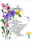 Flood Drawings Prints - Dandelions Poem And Art Print by Darlene Flood