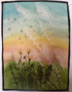 Fabric Mixed Media - Dandelions by Rhoda Forbes