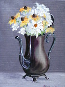 Silver Tea Pot Paintings - Dandy as a Daisy - Original Oil Painting by Thea David