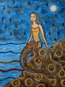 Modern Folk Art Paintings - Danette by Rain Ririn