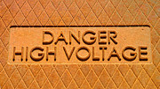 Mortal Framed Prints - Danger High Voltage Framed Print by Gary Whitton