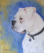 Danger The White Boxer Print by Veronica Coulston