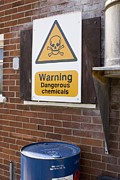 Bin Framed Prints - Dangerous Chemicals Warning Sign. Framed Print by Mark Williamson