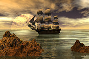 Tall Ship Prints - Dangerous coast Print by Claude McCoy