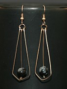Wire Jewelry Posters - Dangle Earrings w bead Poster by Alicia Short