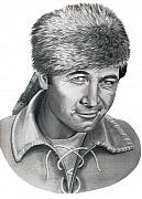 People Drawings Originals - Daniel Boone-Fess Parker by Murphy Elliott