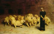Wild Animals Painting Posters - Daniel in the Lions Den Poster by Briton Riviere