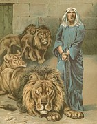 Hebrew Paintings - Daniel in the lions den by John Lawson