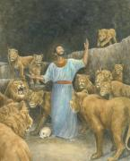 Lion Pastels Posters - Daniel Praying in Lions Den Poster by Robert Casilla