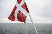 Overcast Day Prints - Danish Flag, Dannebrog Print by Keenpress