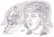 Flyers Drawings - Danny Briere by Chris  DelVecchio