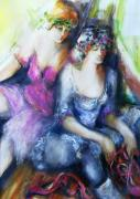 Figures Painting Originals - Danseuse with Mentor by Claire Sallenger Martin
