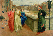 Medieval Painting Posters - Dante and Beatrice Poster by Henry Holiday