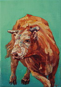 Bull Paintings - Dante by Patricia A Griffin