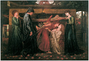 Rossetti Painting Framed Prints - Dantes Dream at the Time of the Death of Beatrice Framed Print by Dante Gabriel Rossetti