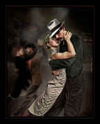 Couple Dancing Posters - Danza Tanguera Face to Face Poster by Raul Villalba