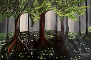 Fantasy Tree Art Print Posters - Dappled Forest 2 Poster by Jayne Kerr