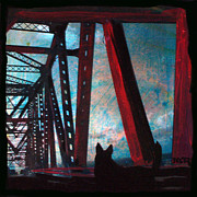 Jacksonville Mixed Media Prints - Dare Devil Dingo Crosses the Matthews Bridge Print by Yvonne Lozano