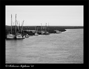 Darien Framed Prints - Darien Marina Black and White Framed Print by Rebecca  Stephens