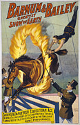 1900s Prints - Daring And Dangerous Equestrian Act- Print by Everett
