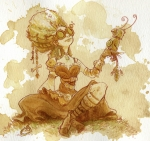 Women Painting Metal Prints - Darjeeling Metal Print by Brian Kesinger