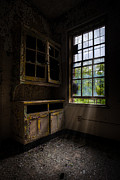 Abandoned Building Prints - Dark And Empty Cabinets Print by Gary Heller