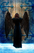 Surreal Fantasy Gothic Church Posters - Dark Angel at Church Doors Poster by Jill Battaglia