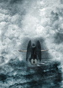 Forgiven Prints - Dark Angel Kneeling on Stairway in the Clouds Print by Jill Battaglia