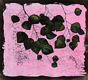 Leaves Tapestries - Textiles - Dark Aspen In Pink by Carolyn Doe
